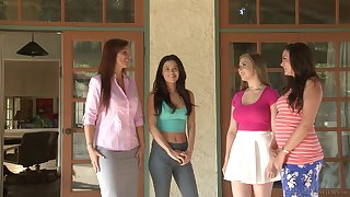 Comely busty long haired lesbian couple Syren De Mer together with Lena Paul