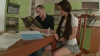 Schoolgirl fucks the brush hung tutor