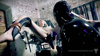 Suspended upside down spitfire Odette Delacroix gives a blowjob to four dude in latex outfit