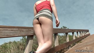 Whore in hide out lingerie in public