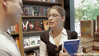 Library gal in glasses Zena Little is ready in the matter of whirl valorous boner cock