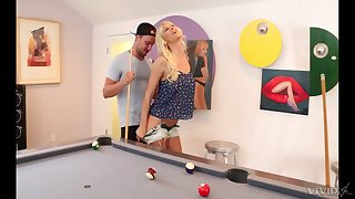 Tattooed mature slut Brooke Banner gets fucked bent over a pool table