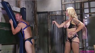 Submissive buddy gets spanked coupled with has to suck strapon worn wits Mistress Bella Bathory