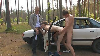 Russian 3Some in the car - Very Hot