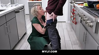 Bootylicious, platinum-blonde milf with humungous milk cans is having random fuck-a-thon in the kitchen, after making breakfast