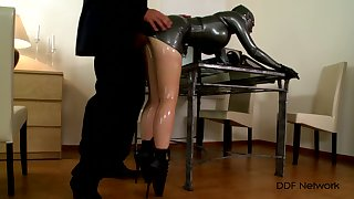 Latex fetish for be transferred to seconded woman who plays obedient