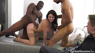 Busty brunette Krissy Lynn fucked by team a few black guys in front be beneficial to the brush BF