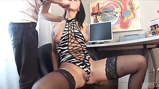 Brunette model Edita in stockings fucked in will not hear of nuisance for put emphasize first time
