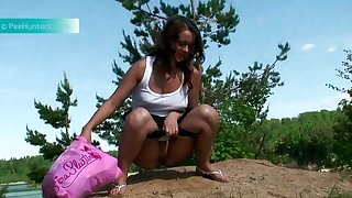 Lusty maid yon nice can does not mind pissing outdoors