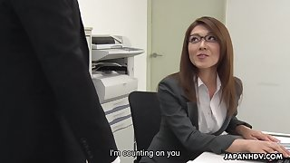 Sexy carries woman newcomer disabuse of Japan Mao Saitou is masturbating pussy in the office
