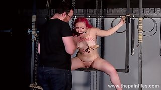 Moaning slave bitch Fairy gets her nipples pinned in firm mode