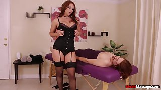 Mature redhead in stockings and unmentionables pleasuring her client