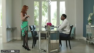 Redhead mature Lacy Lennon less stockings having sex with a BBC