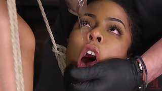 Sexy ebony babe gets introduced to the world of kink