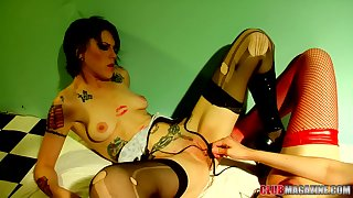 A adequate lesbian display with a matured added to a younger call-girl
