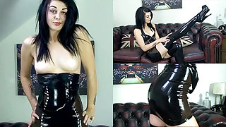 Zoe Moore in the air Black Dress and Stockings - LatexHeavenVideo