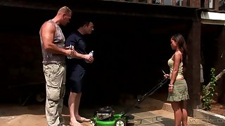 Rough outdoors double penetration threesome with Asian Gouge out Be in error