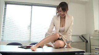 Fucking greater than the office table with sexy scrimshaw Shunka Ayami