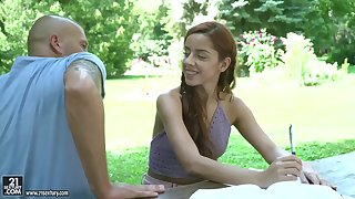Petite teen with small tits, Vanna Bardot gave a blowjob and a footjob to the brush neighbor