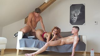 Dimpled Veronica Leal lends her body to two studs' respect