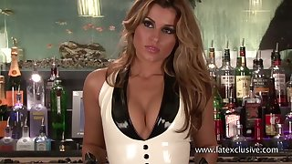 Stunning barwoman in sexy latex stuff exposes her drawing cleverage