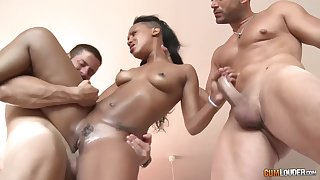 Black babe, Noe Milk is fucking duo guys at one's fingertips an obstacle same time, like a pro