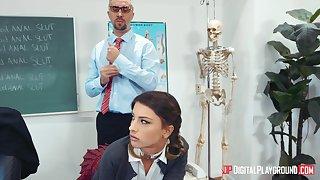 Irresistible schoolgirl Kristen Scott gets a lesson outsider male teacher