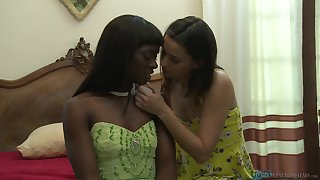 Interracial poof sex on the bed - Georgia Jones together with Ana Foxxx