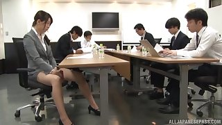 Smooth making out on touching the office with nice tits secretary and her boss