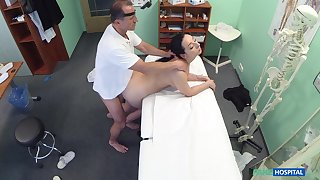 Doctor fucks brunette patient and films her in secluded