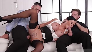 Jasmine Jae is a smoking hot nightfall darkness milf, who likes to get spit- roasted on the sofa