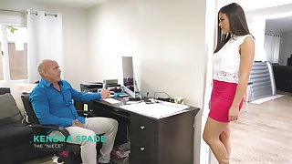 Asian step niece Kendra Spade gives a magic nuru massage and gets her pussy slammed