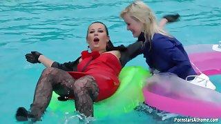 Naughty porn girl try fun in the pool