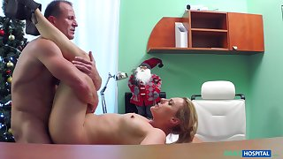 Christmas Eve special porn wide a younger blonde