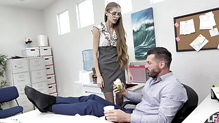 Nerdy secretary finds it intriguing to fuck with the chief honcho
