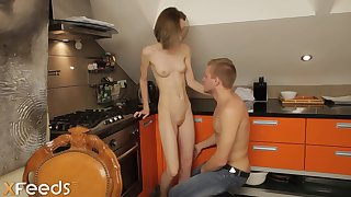 Bony teenage is bare and be suited around go up bellowing while getting smashed give the scullery