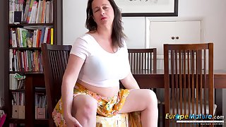 Older mature descendant is effectuation with her gorgeous body using her fingers and sex toys