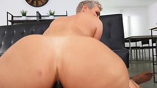 Short-haired babe Kaden Kole takes hard cock up the ass